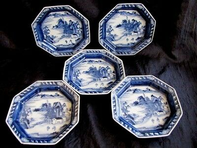 Classic Orig. Japanese Blue & White Porcelain Hand Painted Plates Meiji Period!!