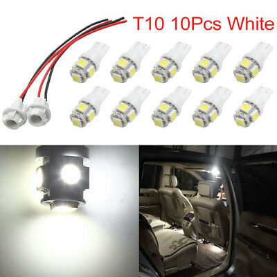 10Pcs T10 W5W White 5 5050-SMD-LED Car Light Bulbs w 2 Socket Extension Wires