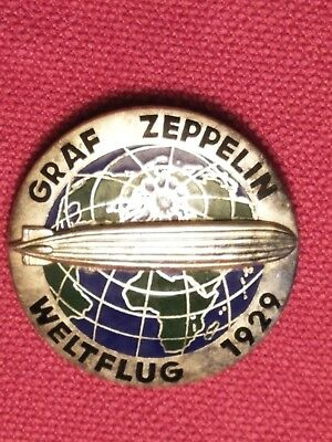 Zeppelin badge, original and scarce, World Flight 1929, manufacturer C.T.D.