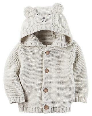 Carters NB 3 6 9 12 18 24 Months Knit Hooded Sweater Cardigan Baby Boy Clothes