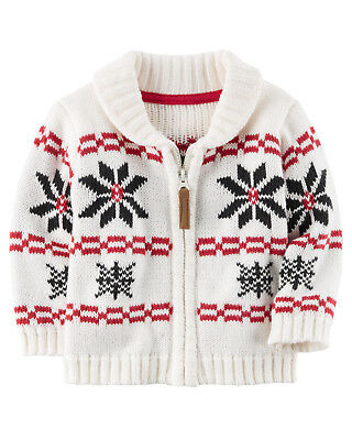 Carters NB 3 6 9 12 18 24 Months Holiday Intarsia Knit Cardigan Baby Boy Clothes