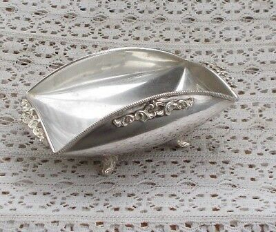 "RARE Vintage 5.5"" Sterling Silver Serving Bowl 900 Silver Footed Fancey LOOK NR"