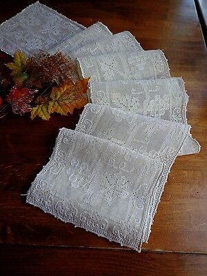 "Rustic Italian Handmade Lace Pulled Thread Runner 100"" For Refectory or Winery"