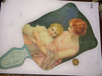vintage 1920's advertising cardboard paddle fan mom/child W-410