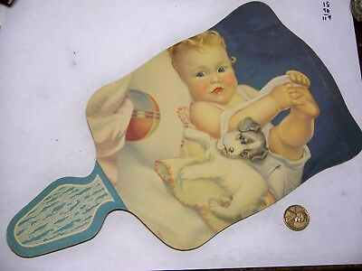 vintage advertising cardboard paddle fan dog and baby W-404