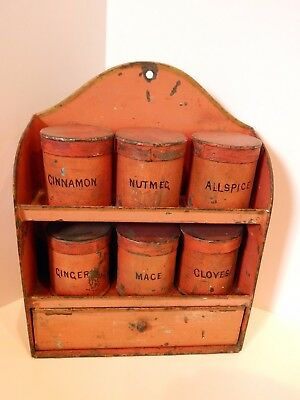 Antique Primitive Spice Rack Cabinet Old Paint 6 Jar Wall Hanging Chest Tin