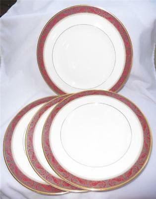 "4 Royal Doulton Martinique Dinner Plates Maroon Dolphins, Teal Floral 10.5"" EUC"