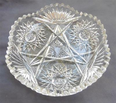 ABP Cut Glass Crystal Hobstars Cross Cut Diamond Bergen Dish