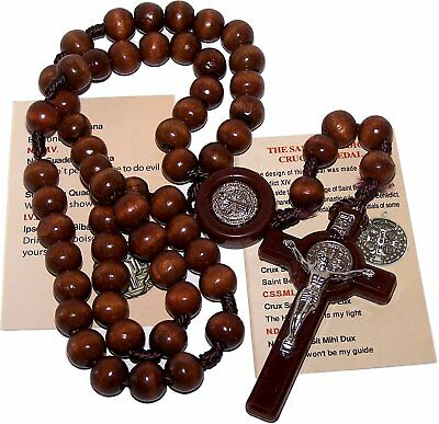 """ST Benedict Rosary Necklace Medal 17"""" NR Brown Wood Beads From Holy Land BIG"""