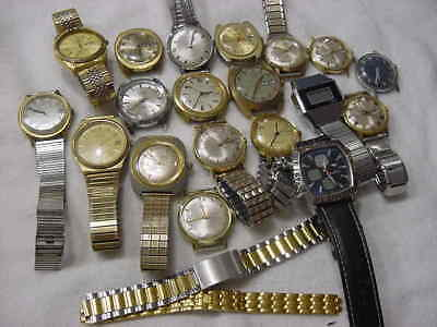 Lot of 19 Vintage large antique Art Deco TIMEX + other mens watch watches . NR