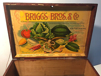 VTG ANTIQUE WOODEN SEED BOX STORE DISPLAY ADVERTISING BRIGGS BRoS. NEW YORK
