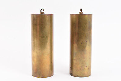 Pair Of Early Brass Longcase Grandfather Clock Weights V26