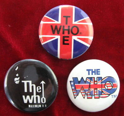 THE WHO 3 Different 1980-83 Pinback Buttons Pins Badges near MINT