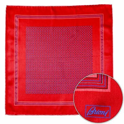 New BRIONI Italy Red Blue Squares Silk Pocket Square Handkerchief MSRP $150!
