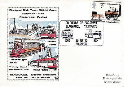 GB Stamp QEll Commemorative Cover 90 years of Blackpool Tramways 1975