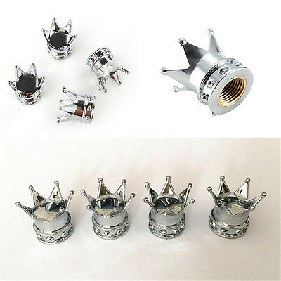 4pcs Chrome Crown Style Car Tire Air Valve Stems Cover Caps Wheel Rims Universal