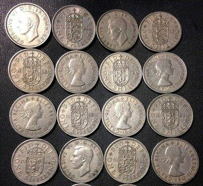 Vintage Great Britain Coin Lot - 16 SHILLINGS - FREE SHIPPING