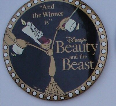 "Disney 4"" Round Button Disney`s Beauty And Beast "" And The Winner Is """