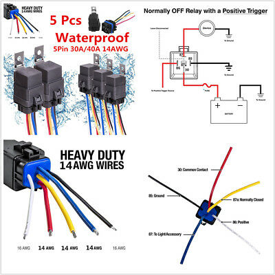 5X 5PIN WATERPROOF Car Relay Switch Harness 30A/40A 12V DC ...  Pin Car Relay Wiring on