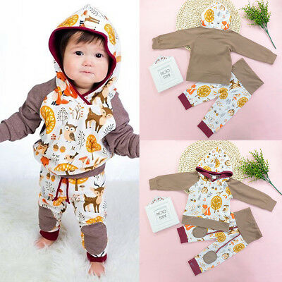 Newborn Toddler Baby Boy Girl Hoodie Tops Pants Home Outfits Clothing 2Pcs Set