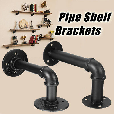Vintage Retro Iron Industrial Pipe Shelf Bracket Holder Support DIY Wall Mount