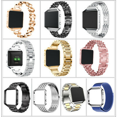 Stainless Steel Metal Strap Watch Band Frame Wristband Replace For Fitbit Blaze