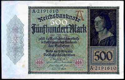 Germany, 500 Mark, A2191610, 27-3-1922, Good Very Fine.