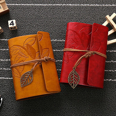 Vintage Notebook Diary String Leaf Travel Leather Restor Journal book Brown New