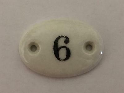 Vintage Small French Porcelain Door House Locker Number 6, Architectural Chic