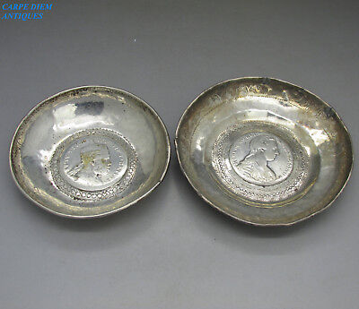VINTAGE PAIR OF SOLID SILVER COIN INSET DISHES, 152g, NEAR EASTERN c1930