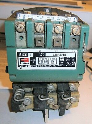 Furnas 14DF32BA71 Size 1 3 phase 27 Amp 200/230 7 1/2 HP 460/565 volt 10 HP used
