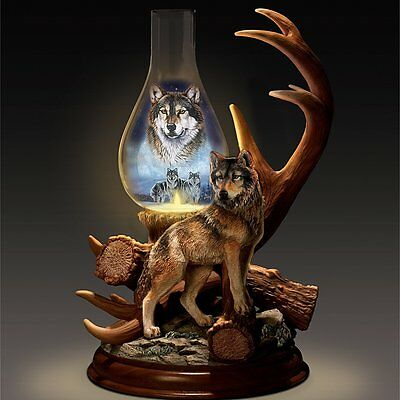 The Spirit Wolf Lighted Hurricane Lamp Wolves Table Statue Figurine NEW