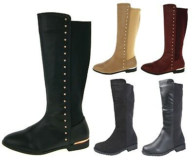 Girls Knee High Stretch Boots Faux Leather Suede Kids Riding School Winter Shoes