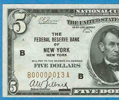 $5.00 1929 Ex. Grinnell  #13  New York   Federal Reserve Bank Note Ch. New