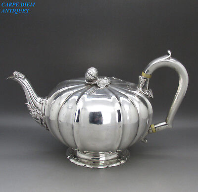 ANTIQUE SUPERB WILLIAM IV SOLID STERLING SILVER MELON TEAPOT, 742g, RS, LON 1831
