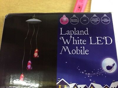 B&Q Lapland White LED Santa Mobile x 2