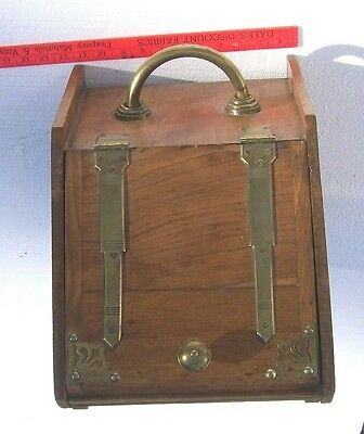 Antique or Vintage Wooden COAL SCUTTLE with brass hardware and metal insert