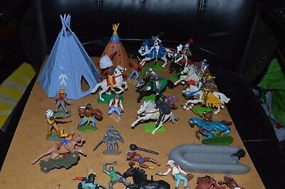 Vintage Timpo & Britains Deetail Plastic Toy Soldiers Lot Wild West, Knights etc