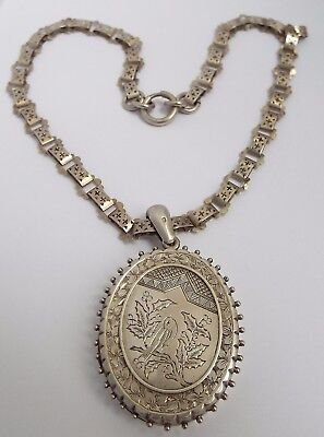 Fab Lrge Decorative English Antique Victorian 1881 Solid Silver Aesthetic Locket