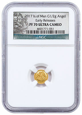 2017 Isle of Man 1/2 g Gold Angel Proof Coin NGC PF70 UC ER Excl Label SKU50226