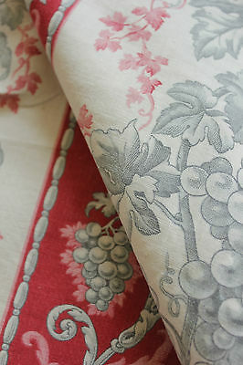 Antique Vintage French toile Grapes floral  printed cotton c1880 old cotton
