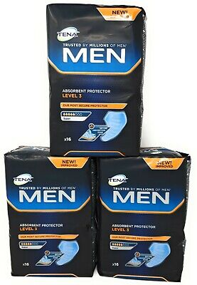 Tena Men Level 3 Absorbent Protector 3 Packs of 16 (48 Total)