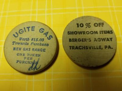 Old Lot of 2 WOODEN NICKELS UGI UGITE Gas & Berger's AGWAY Store Trachsville PA