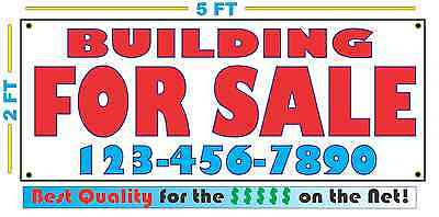 BUILDING FOR SALE w/ Phone Banner Sign Custom Phone # Number NEW LARGER SIZE