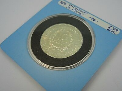 1961 Uruguay 10 Pesos .900 Fine Silver Coin - Lots of Mint Luster