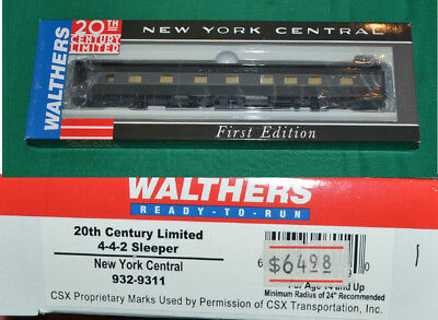 New York Central NYC  20th Century 4-4-2 Sleeper Walthers 932-9311 HO [N16.24]