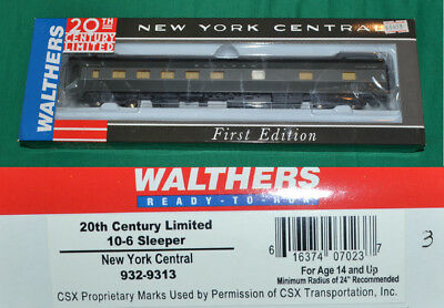 New York Central NYC 20th Century 10-6 Sleeper Walthers 932-9313 HO [N16.28]