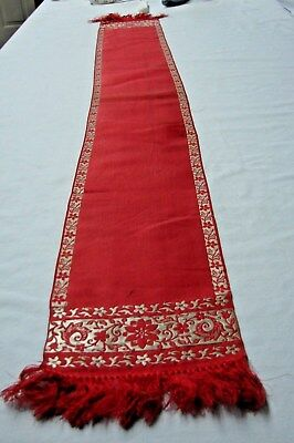 Antique 1800S Victorian Red Silk Jacquard Fringe Dress / Coat Scarf