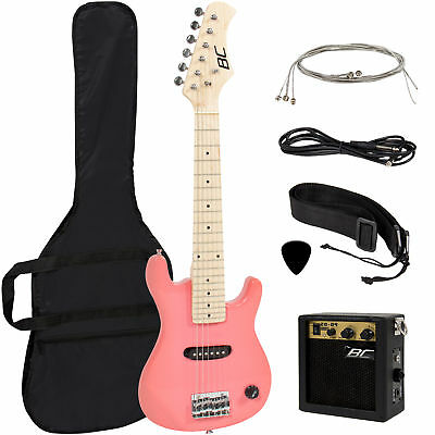 """New Electric Guitar Kids 30"""" Black & Pink Guitar W/ Amp + Case + Strap and More"""