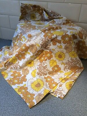 VINTAGE 1970's PSYCHEDELIC FLORAL COTTON DOUBLE FLAT SHEET